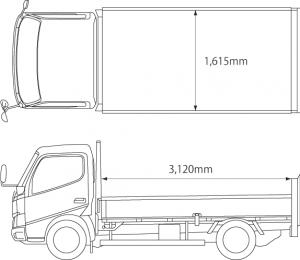 2トントラックの荷台寸法は奥行3.12メートル、幅1.615mです。
